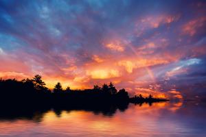 Beautiful Rainbow and Sunset